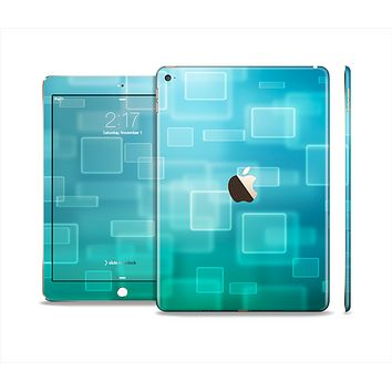 The Transparent Green & Blue 3D Squares Skin Set for the Apple iPad Air 2
