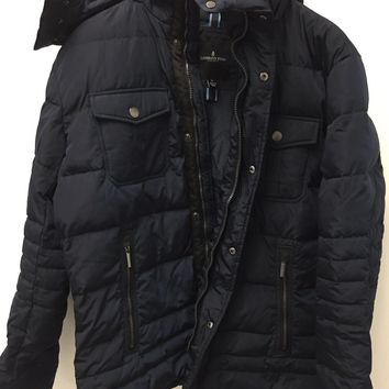 London Fog Jacket with Attached Hoodie Large Navy Blue