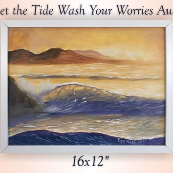 Framed Art, Fine Art, Wave Painting, Ocean Art, Coastal Landscape, Seascape, Wall Art, Nature Oil Painting, Original Art, Seascape Painting