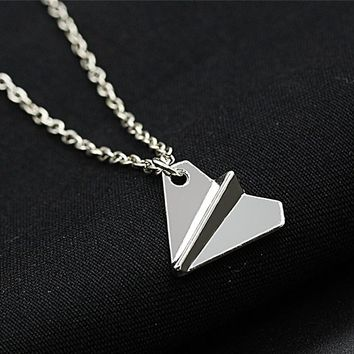 N2085 Minimalist Clavicle Necklaces Women Bijoux Paper Plane Tiny Necklaces Dainty Fashion Jewelry Beach Collares One Direction