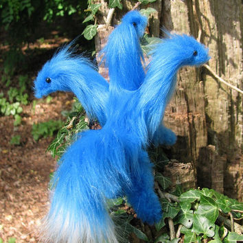 Hydra dragon posable blue white fantasy greek myth gift lucky charm pet plush animal miniature doll handmade faux fur Jerseydays