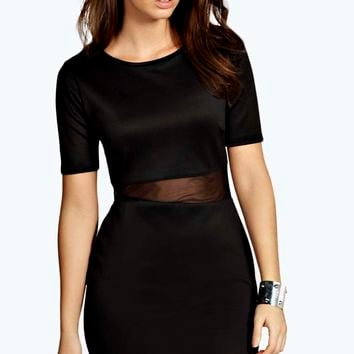Lucy Cap Sleeve Bodycon Dress with Mesh Insert
