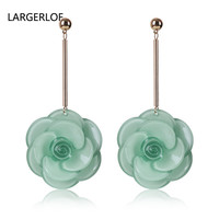 2017 New Trendy Acrylic Flower Drop Earrings Earrings For Women Four Color Green Zircon Jewelry earrings Style For Girls