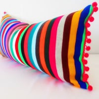 Colorful pillow cover, Mexican Pillows, Serape stripe blue, pink, red pillow case aztec boho