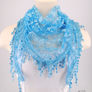 Blue Lace Fichu Metallic Silver Roses Scarf Shawl Cowl Triangle Sheer Fashion Lightweight Women Accessories by Creations by Terra