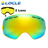 LOCLE Spherical Ski Goggles Double Lens UV400 Anti-fog Ski Glasses Maks Skiing Snowboard Motocross Goggles With Brightening Lens