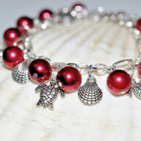 Red Beautiful Turtle Charm Bracelet