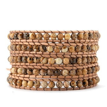 Wrap bracelets made with 2 mm mixed Jasper stone beads,  5 x leather wrap is adjustable