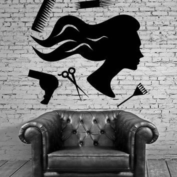 Beauty Salon Barber Tools Hair Hairdresser Wall Stickers Vinyl Decal Unique Gift (ig2114)