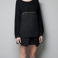 BLOUSE WITH ZIP DETAIL - T-shirts - Woman - ZARA United Kingdom