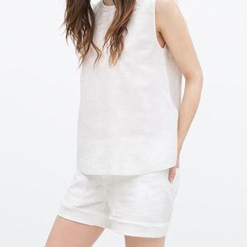 Women's Tank Top - Eyelet Lace Neckline / Embroidery / White