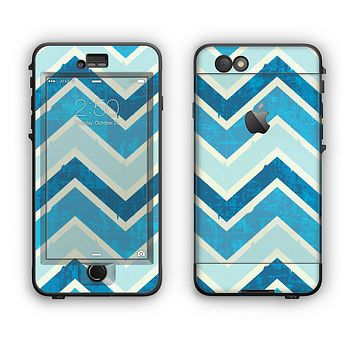 The Vibrant Blue Vintage Chevron V3 Apple iPhone 6 Plus LifeProof Nuud Case Skin Set