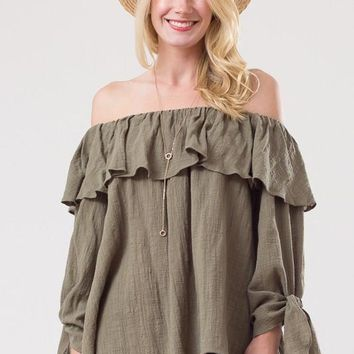 Off Shoulder Ruffle Linen Top