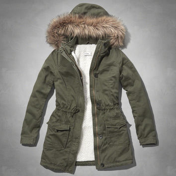 sherpa lined twill parka