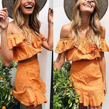 Keva Orange Off-the-Shoulder Two-Piece Dress