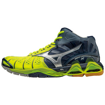 Mizuno Wave Tornado X Mid Mens - Neon Yellow Navy