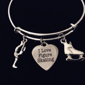I Love Figure Skating Expandable Charm Bracelet Silver Adjustable Bangle Skater Jewelry White Skate One Size Fits All Gift