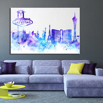 City Wall Art - Watercolor Large Wall Art Print - Las Vegas Wall Art - LAS VEGAS City Skyline Silhouettes Watercolor Large Canvas Print