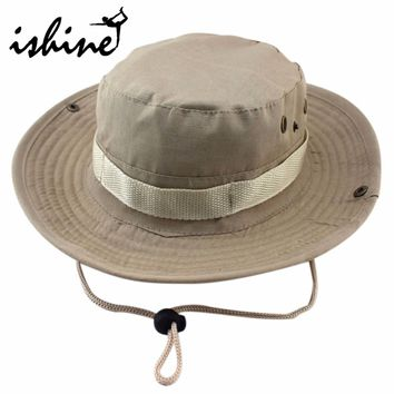 Fishing Hat Jungle Military Camouflage Bucket unisex UV Protection Wide Brim Outdoor Sports Sun hats Hunting Caps jul7