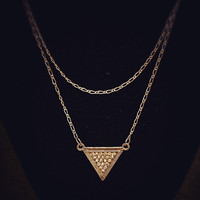 Gold triangle layered necklace!