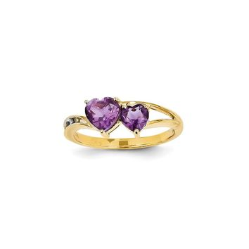 14k Yellow Gold Diamond and Amethyst Double Heart Ring