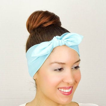 Turban Bow Head Wrap Bow - Blue Yoga Headband Fitness Headband Knit Turban Headband Workout Headband Running Headband Cheerleader Headband
