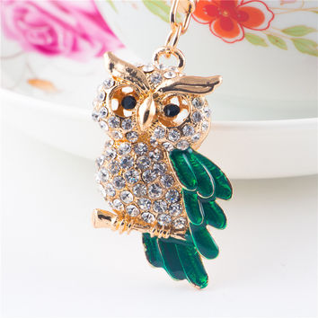 AMOURJOUX Cute Standing Owl Shiny Crystal Pendant Key Chains For Women Men Animal Charms Gold Keyrings Car Keychain Key Chain