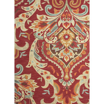 Jaipur Rugs Modern Floral Pattern Red/Blue Polyester Area Rug BR29 (Rectangle)