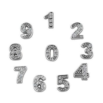 ShinyJewelry Numbers Floating Charms For Glass Living Memory Lockets Necklace amp Bracelets