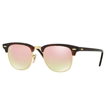 Ray-Ban Clubmaster Copper Gradient Flash Lens Tortoise Gold Frame RB3016 990/7O
