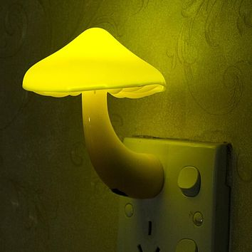 Nightlight Lamp US/EU Plug For Creative Novelty Led Electric Induction Small Night Light Mushroom Wall Lamp
