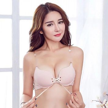 Women Push Up Bras Seamless Sexy Lingerie Gather Adjustable Cross Backless Back Bra Invisible Underwear