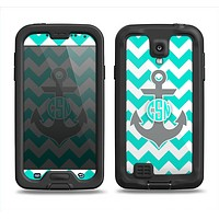 The Teal Green and Gray Monogram Anchor on Teal Chevron Samsung Galaxy S4 LifeProof Fre Case Skin Set