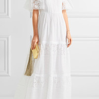 Valentino - Off-the-shoulder broderie anglaise cotton-blend maxi dress