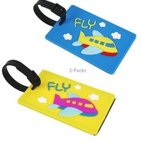 JAVOedge Airplane Silicon Luggage Tag (2 Pack)