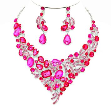 Pink Rhinestone Crystal Statement Necklace Earrings Set Affordable Wedding Jewelry Prom
