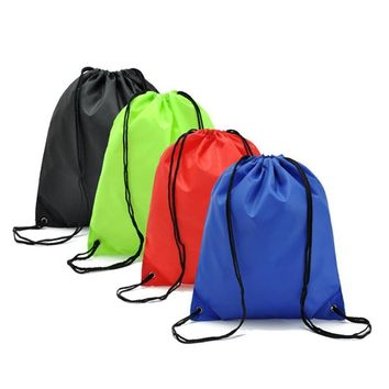 Solid Colors Blue Red Green Black Drawstring Bags Cinch String Backpack
