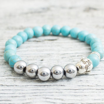 Turquoise and silver plated hematite beaded silver smiling Buddha head stretchy bracelet, mens bracelet, womens bracelet