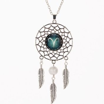 Silver Color Indian Feather Dream catcher zodiac necklace for Women jewelry.