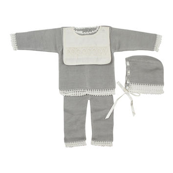 Antonella Baby Crochet Trim Knit Set