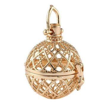 CREYCI7 Fashion Gothic Pattern Hollow Ball Pendant Alloy  Angel Caller Wish Box Pendants Hollow With Diameter 2.5cm Necklace Jewelry