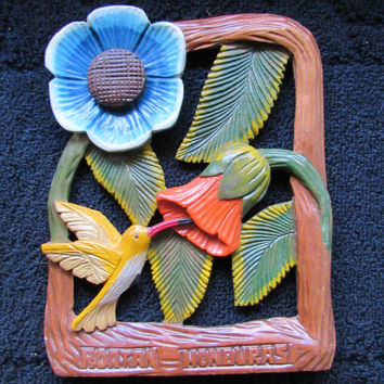 Vintage Wooden Wall Plaque / Ornate Hand Carved Tropical Tiki Home Decor / Honduras Wood Art / Retro Home Decor 60s 70s