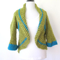 Green crochet shrug, color block sweater with shawl collar, fine knit outerwear
