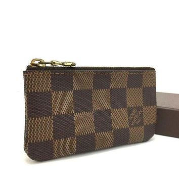LMFON Tagre? 100% Authentic Louis Vuitton Damier Pochette Cles Wallet Coin Purse / 3pBXX