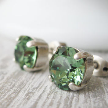 Green Stud Earrings, Erinite, Green Wedding, Bridesmaid Earrings, Post Earrings, Rhinestone Studs, Simple Classic Jewellery