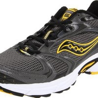 Saucony Men's Grid Cohesion 5 Running Shoe,Grey/Black/Yellow,10.5 M US