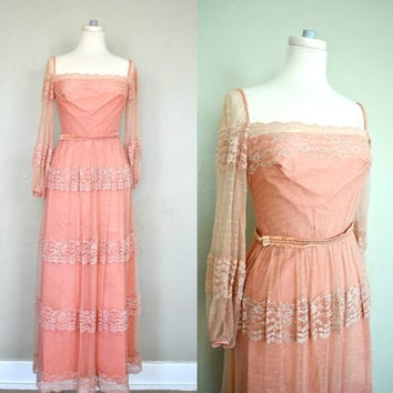 Dusty Rose Victorian Style Lace Dress / XS by WayfaringMagnolia