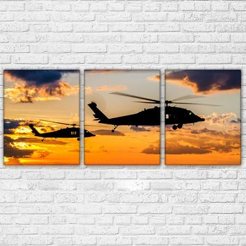 3 Pieces Sunset Air Helicopter Landscape Painting For Living Room Decor