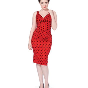 Voodoo Vixen Red Polka Dot Flocked Pencil Dress