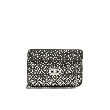 Valentino Small Embellished Spike It Shoulder Bag in Black | FWRD